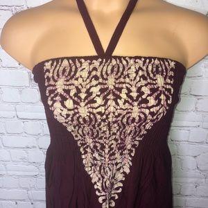 Advance Apparels Dresses - Maroon Halter Summer Sundress